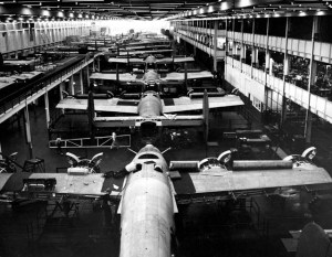 Liberty B24 bombers are assembled at the Ford Motor Company's Willow Run plant in 1943, as part of the Allies' World War II effort. *Source*: The Detroit News