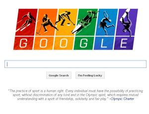 "Even Google's doodle showed support for the LGBT community in Sochi, quoting the Olympic Charter: ""The practice of sport is a human right. Every individual must have the possibility of practicing sport, without discrimination of any kind..."" What if Google took a similar stand on the climate crisis? Source: Google"